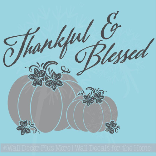 Thankful Blessed Pumpkins Autumn Fall Wall Decals Vinyl Stickers