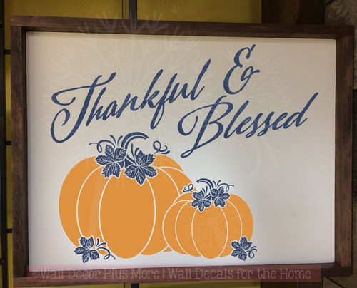 Simply Blessed Vinyl Lettering Stickers Fall Home Decor Thanksgiving Wall Decals