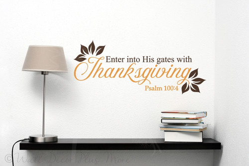 Enter His Gates with Thanksgiving Vinyl Letters Wall Decals Fall Decor-Rust Orange, Chocolate