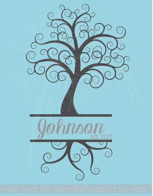 Curly Tree with Cursive Name Est Date Personalized Vinyl Wall Decals