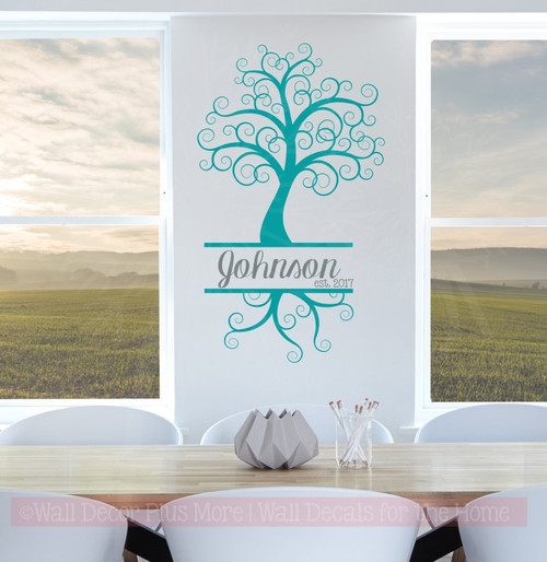 Curly Tree with Cursive Name Est Date Personalized Vinyl Wall Decals-Teal, Storm Gray