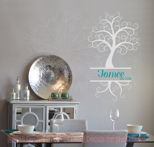Curly Tree with Cursive Name Est Date Personalized Vinyl Wall Decals-Light Gray, Teal