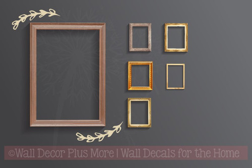 Laurel Floral Elements and Pieces Vinyl Art Stickers Wall Decals-Beige