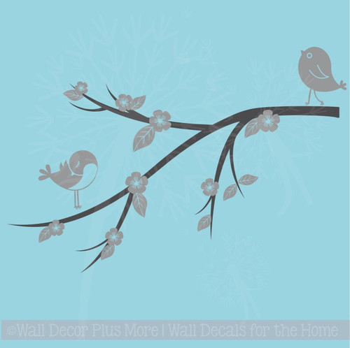 Birds Flowers on Branch Girls Wall Stickers Decor Vinyl Art Decals