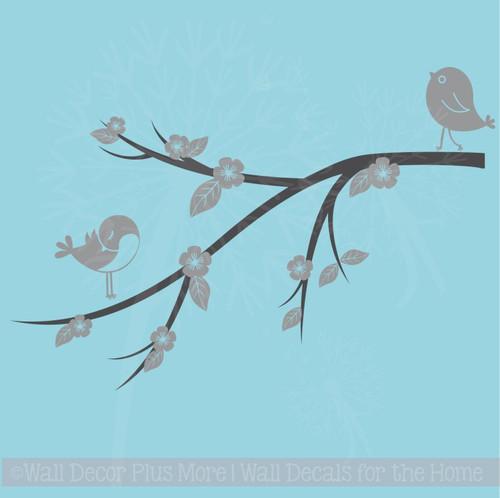 Birds Flowers on Branch Girls Wall Stickers Decor Vinyl Art Decals