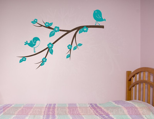 Birds Flowers on Branch Girls Wall Stickers Decor Vinyl Art Decals-Teal, Chocolate