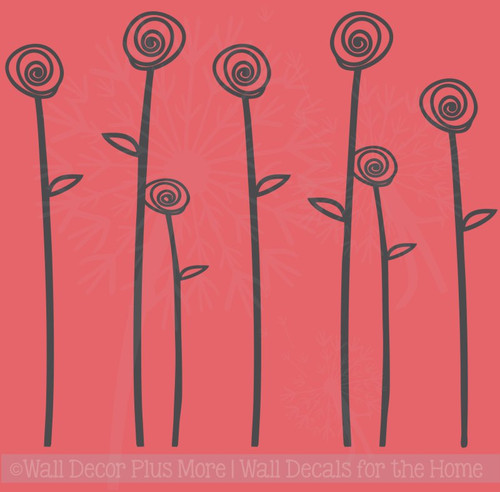 Doodle Roses and Stems Flower Wall Decals Girls Room Vinyl Art Stickers