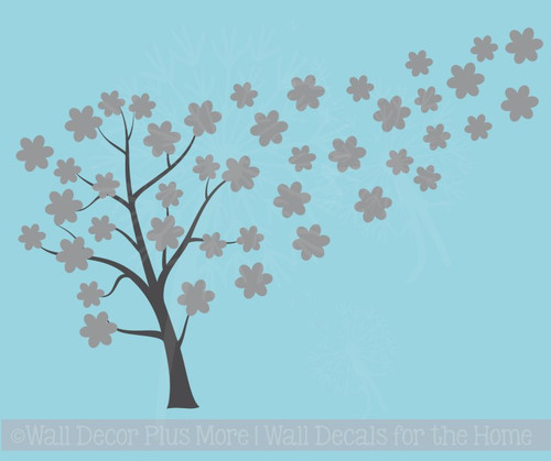 Tree Blowing with Flowers Large Tree Wall Decals Vinyl Art for the Home