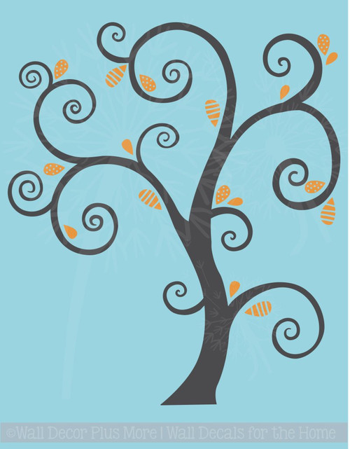 Large Curly Tree with Abstract Leaves Vinyl Art Decals Wall Sticker