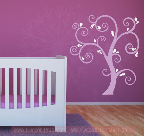 Large Curly Tree with Abstract Leaves Vinyl Art Decals Wall Sticker-Lilac, White
