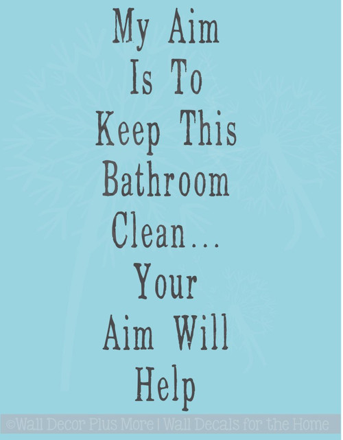 Aim Will Help Bathroom Wall Stickers Vinyl Lettering Decals Bath Decor