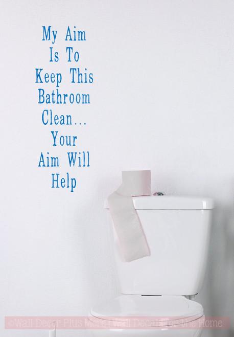 Aim Will Help Bathroom Wall Stickers Vinyl Lettering Decals Bath Decor