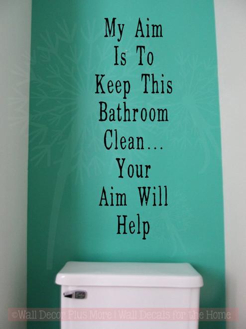Aim Will Help Bathroom Wall Stickers Vinyl Lettering Decals Bath Decor-Black
