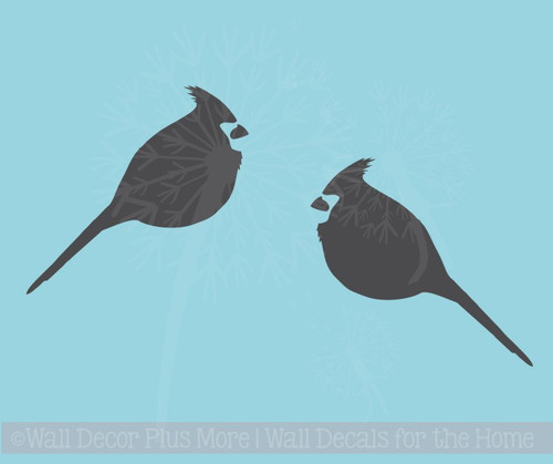 Cardinal Set of 2 Bird Wall Decals Vinyl Art Christmas Home Decor