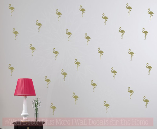 Flamingo Set of 28 Bird Vinyl Art Decals Wall Sticker Bedroom Decor-Metallic Gold