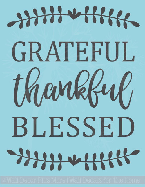 Grateful Thankful Blessed Fall Vinyl Lettering Autumn Wall Decals