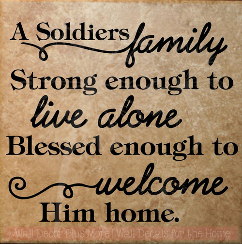 A Soldiers Family Vinyl Lettering Tile Wall Stickers Military Decals-Black