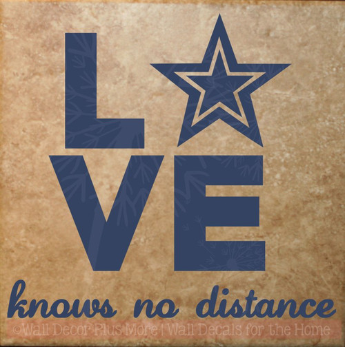 Love Knows No Distance Army Wall Art Quote Vinyl Letters for Home Decor-Deep Blue