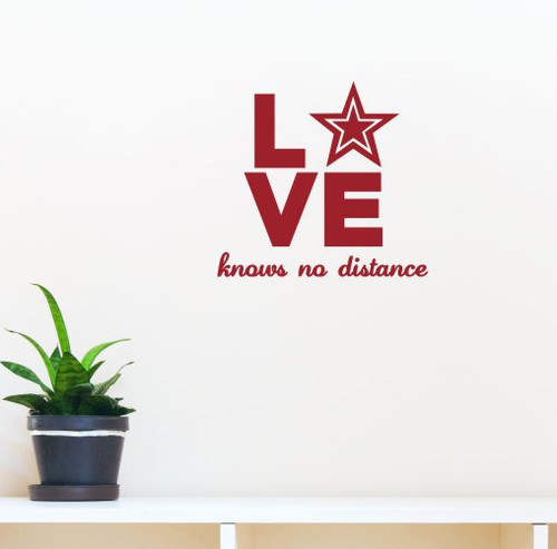 Love Knows No Distance Army Wall Art Quote Vinyl Letters for Home Decor-Red