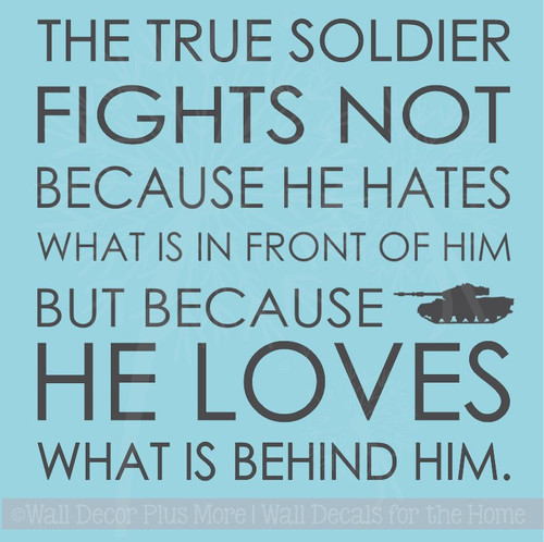 A True Soldier Vinyl Lettering Military Loves Family Wall Sticker Quotes