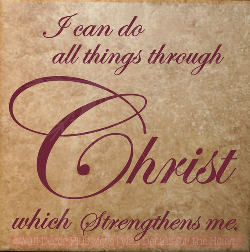 All Things Through Christ Vinyl Lettering Religious Wall Decals Quote-Burgundy