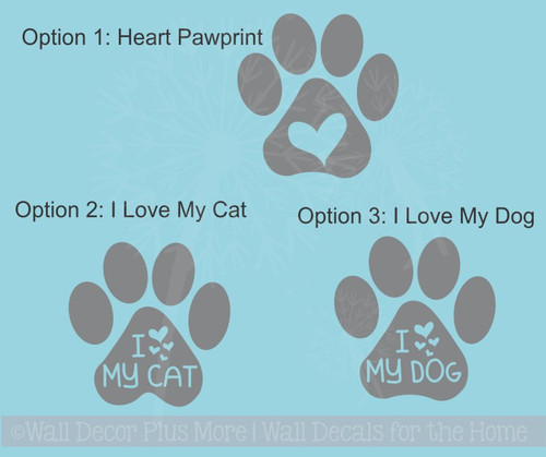 I Love My Dog Cat Pawprint Car Window Decals Pet Love Vinyl Stickers