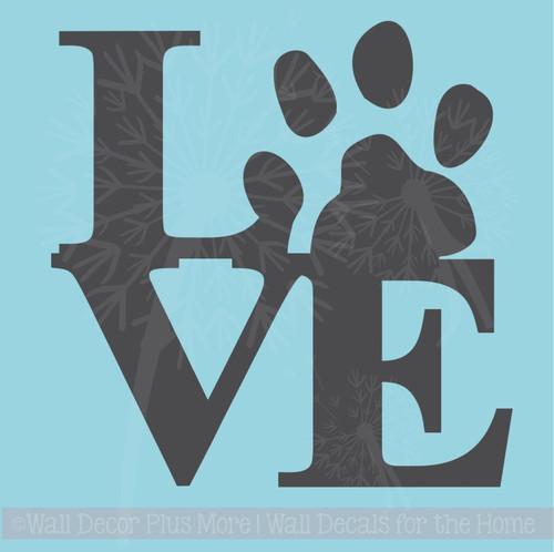 Love Pawprint Animal Pet Vinyl Art Decals Wall Stickers Wall Decor