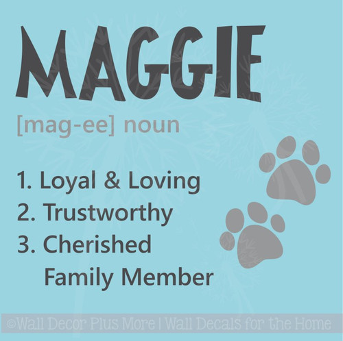 Pet Custom Tile with Name Family Definition Vinyl Decals Wall Stickers
