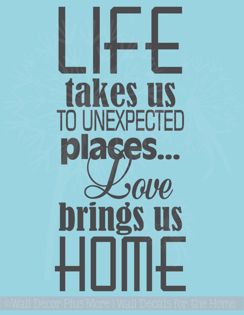 Love Brings Us Home Family Wall Decals Vinyl Lettering Art Wall Décor Quotes