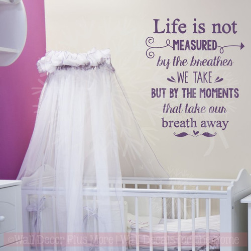 Moments Take Our Breath Away Vinyl Letters Stickers Family Wall Décor Quotes-Plum