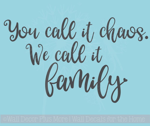Chaos Family Quotes Vinyl Lettering Farmhouse Stickers Wall Decals