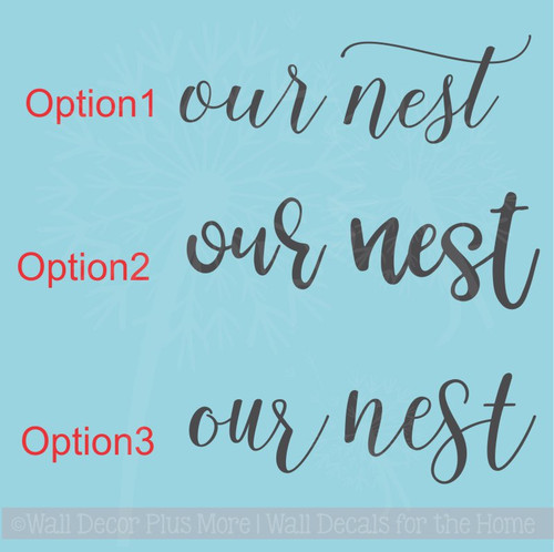 Our Nest Farmhouse Lettering Art Family Wall Sticker Quote Decals