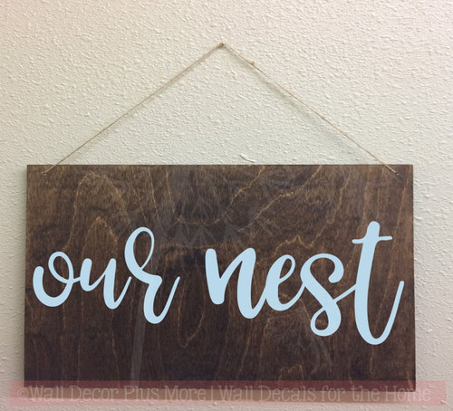 Our Nest Farmhouse Lettering Art Family Wall Sticker Quote Decals-Powder Blue, Option 2