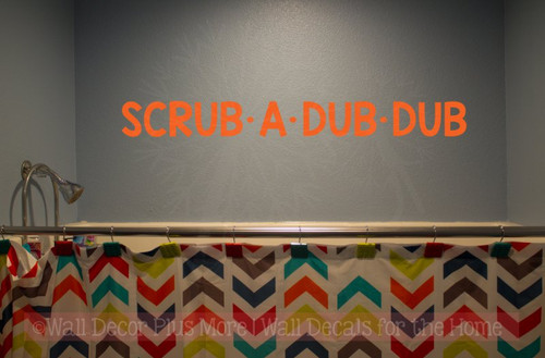 Scrub A Dub Dub Wall Decals Vinyl Fun Bathroom Decals Wall Decor Quotes-Orange