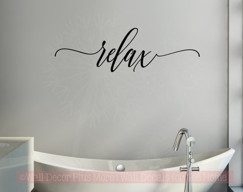 Relax Cursive Vinyl Lettering Bath Wall Decor Bathroom Wall Decals Quotes