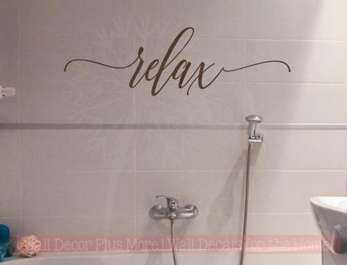 Relax Cursive Vinyl Lettering Bath Wall Decor Bathroom Wall Decals Quotes