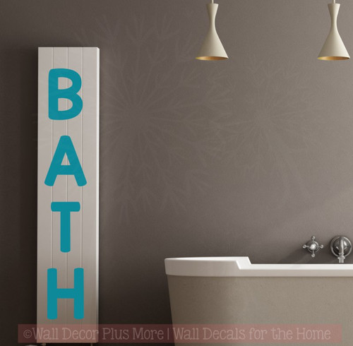 Bath Letters Vinyl Wall Art Stickers for Bathroom Bold Wall Decals Quotes-Teal