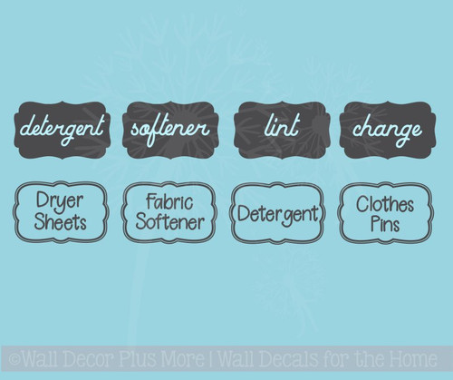 Laundry Room Labels Wall Art Jar Stickers Set of 4 Vinyl Decals, 2 Options
