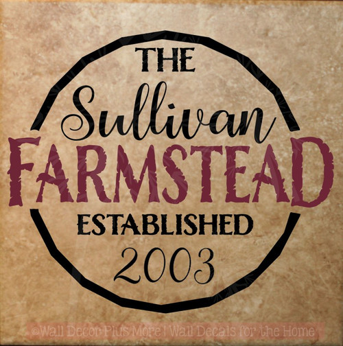 Farmstead Est Family Name Custom Vinyl Letters Wall Decals for Home Decor-Black, Burgundy
