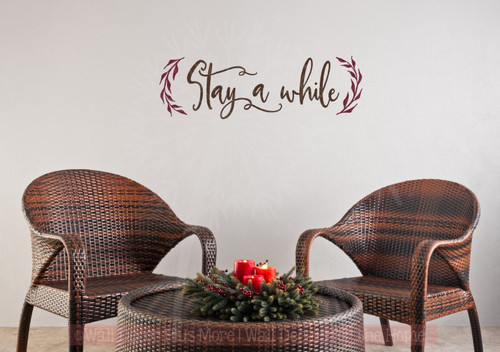 Stay A While with Leaves Wall Decals Modern Vinyl Letters Farmhouse Style-Chocolate Brown, Burgundy