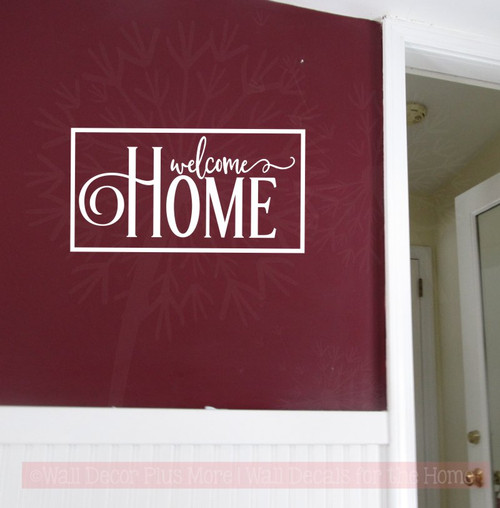 Option 1 Welcome Home Family Wall Decals Vinyl Letters Modern Wall Stickers-White