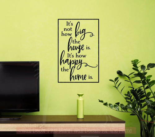 How Happy the Home Is Wall Decals Vinyl Lettering Family Home Decor-Black