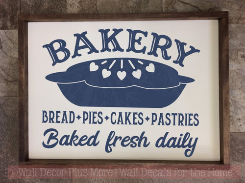 Bakery Baked Fresh Daily Farmhouse Vinyl Decals Kitchen Wall Decor-Deep Blue