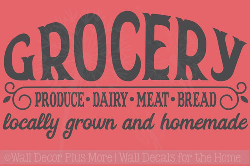 Grocery Locally Grown Homemade Farmhouse Kitchen Decor Wall Sticker Decals