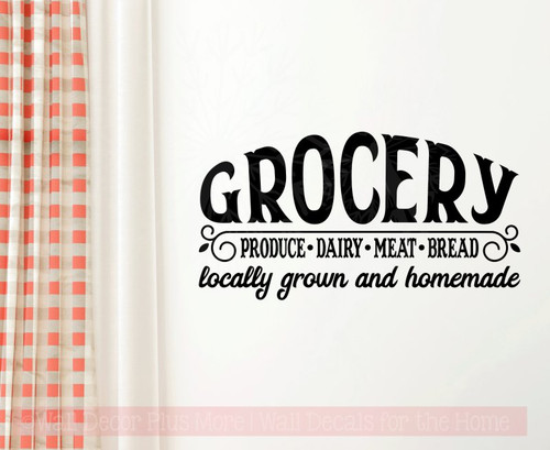 Grocery Locally Grown Homemade Farmhouse Kitchen Decor Wall Sticker Decals-Black
