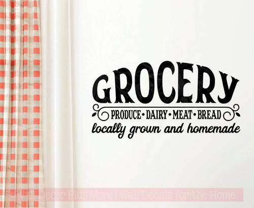 Grocery Locally Grown Homemade Farmhouse Kitchen Decor Wall Sticker Decals-Black
