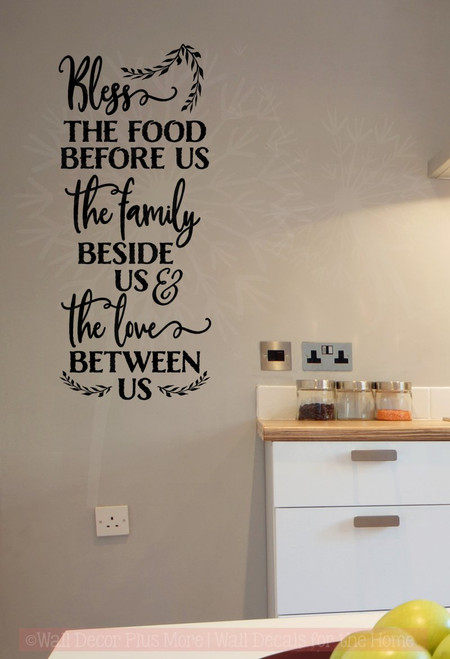 Bless This Food Family Love Wall Words Sticker Kitchen Decor Quotes