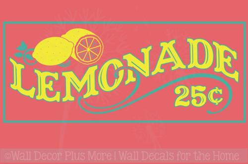 Lemonade 25cents Vinyl Lettering Farmhouse Kitchen Wall Decor Stickers