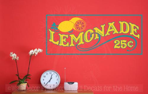 Lemonade 25cents Vinyl Lettering Farmhouse Kitchen Wall Decor Stickers-Teal, Yellow