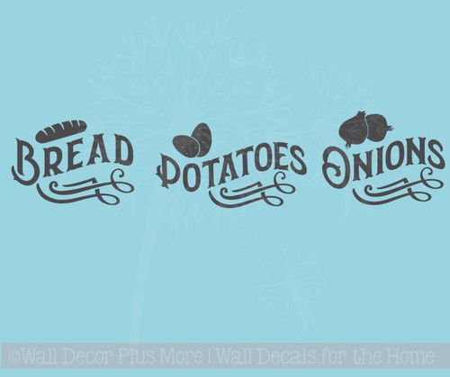 Bread Potatoes Onions Vinyl Stickers Label Kitchen Storage Wall Decals Farmhouse